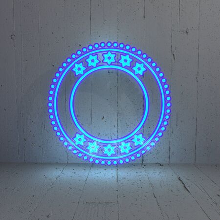 frugal: 3D graphic Illuminated circle with stars in a stylish background Stock Photo