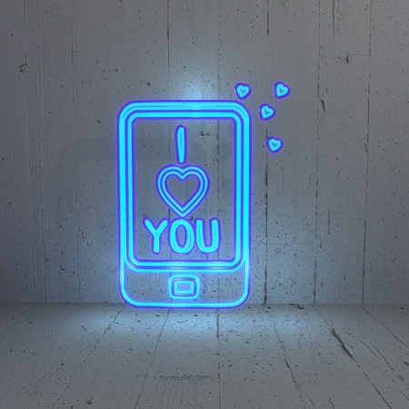 bleak: 3D graphic Illuminated I love you icon in a shining cellphone