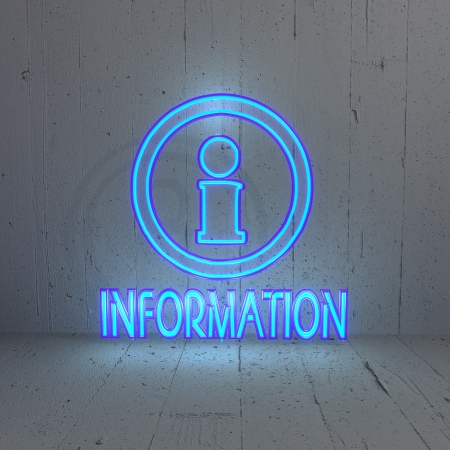 bleak: 3D graphic Illuminated  information icon in a stylish background Stock Photo