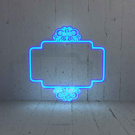 3D graphic  Curlicue label illumination in a simple background