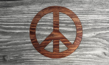 wooden 3D graphic Classy peace symbol in a new stylish background