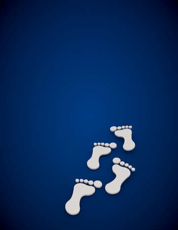 swish: 3D graphic Footprint  in a stylish blue background Stock Photo