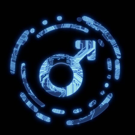 butch: 3D Graphic Steel blue  electronic man symbol in a dark background on a computer chip
