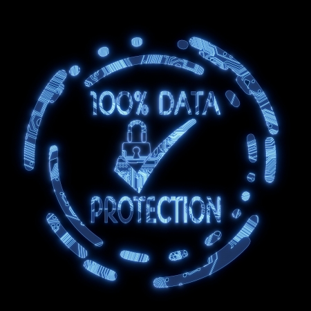 3D Graphic Steel blue electric glowing data protection symbol in a dark background on a computer chip