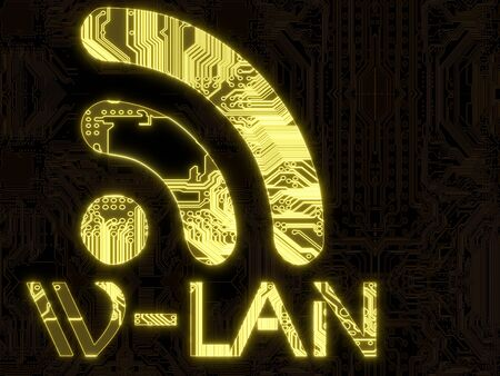wlan: 3D Graphic Steel blue flare computer w-lan symbol in a dark background on a computer chip Stock Photo