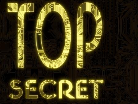 3 D グラフィック イエロー フレア コンピュータ チップに輝くトップ秘密の記号