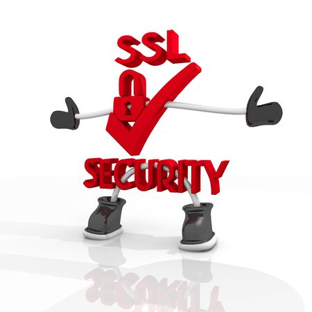 ciphering: 3D graphic Candy red SSL  security 3d character isolated on white background