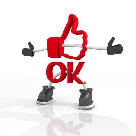 ok symbol: Grafica 3D Candy rosso Simbolo OK in un elegante personaggio 3d isolato su sfondo bianco Archivio Fotografico
