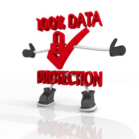 ciphering: 3D graphic  100 percent  data protection symbol in a stylish white background