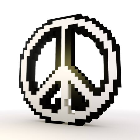 3D graphic Elegant peace symbol in a stylish white background Stock Photo - 18525684