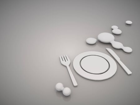 3D graphic Classy restaurant symbol in a stylish grey background Stock Photo - 18525569