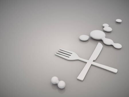 buff: 3D graphic Classy restaurant symbol in a stylish grey background