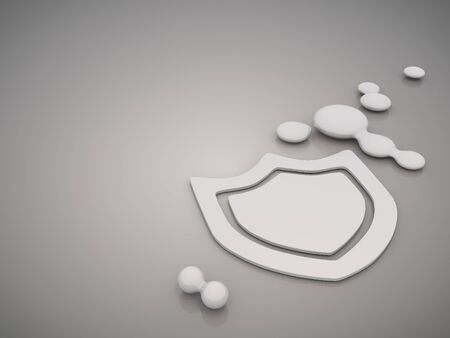mirrow: 3D graphic  Metallic protection symbol in a stylish grey background Stock Photo