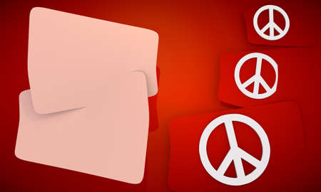 3D graphic red background with three cute Peace  icons and two white areas for own content