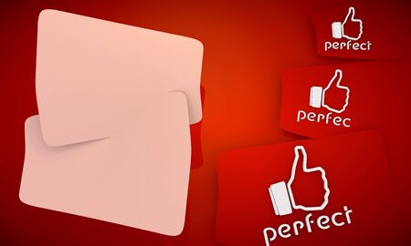 swish: 3D graphic red background with three cute Perfect icons and two white areas for own content