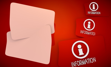 3D graphic red background with three cute Information icons and two white areas for own content photo