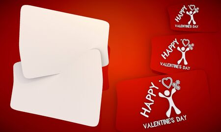 3D graphic red background with three cute Happy valentines day icons and two white areas for own content photo