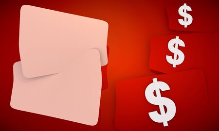 3D graphic red background with three cute dollar  icons and two white areas for own content