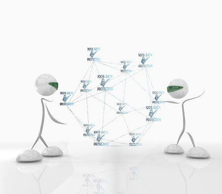 3D graphic cyber data protection network network with two modern robots
