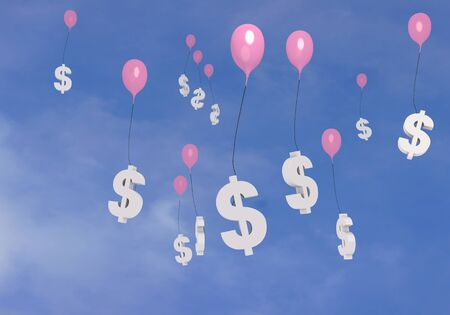 3D graphic flying Dollar balloons in the blue sky