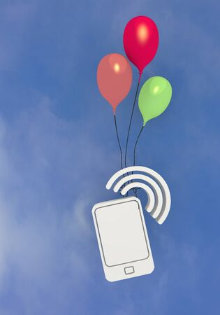 wireless lan: 3D graphic three colourful ballons with smartphone flying in the sky Stock Photo