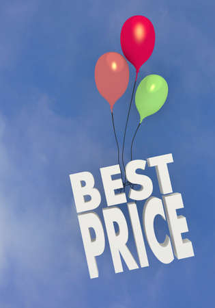 3D graphic three colourful ballons with best price icon flying in the sky photo