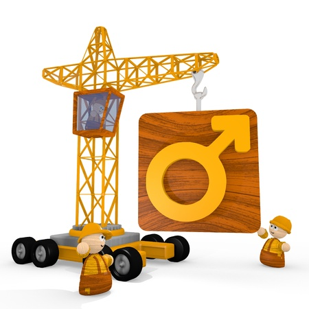 blockade: Dark orange  childish character 3d graphic with tiny man symbol with a crane