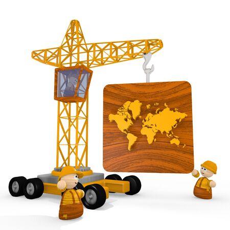 blockade: Dark orange  childish character 3d graphic with tiny international symbol with a crane