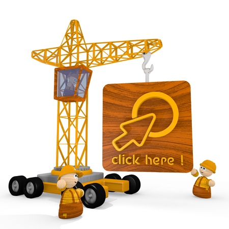 blockade: Dark orange  childish man 3d graphic with cute click here symbol with a crane