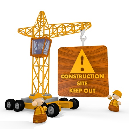 dangerous construction: Dark orange  keep out construction site 3d graphic with dangerous construction site icon with a crane