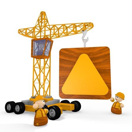 blockade: Dark orange  tiny man 3d graphic with childish triangle icon with a crane Stock Photo