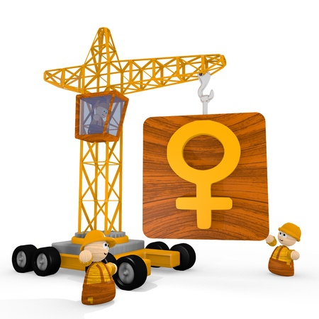 tiny: Dark orange  tiny construction site 3d graphic with tiny woman icon with a crane