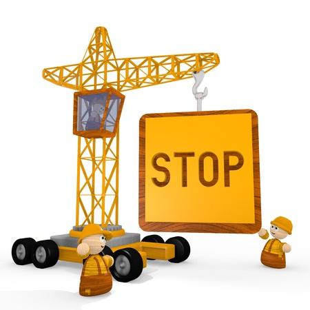 blockade: Dark orange  childish builder 3d graphic with tiny stop symbol with a crane Stock Photo