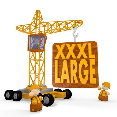 xl: Dark orange  x-large xxl 3d graphic with large XL icon with a crane Stock Photo