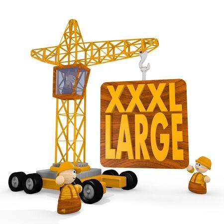 xxl icon: Dark orange  x-large xxl 3d graphic with large XL icon with a crane Stock Photo