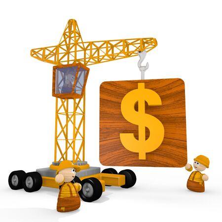 blockade: Dark orange  financial builder 3d graphic with childish Dollar icon with a crane