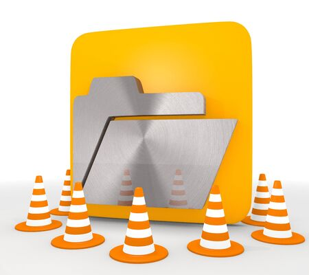 shutoff: Red  decorative barrier 3d graphic with regular folder icon  Stock Photo