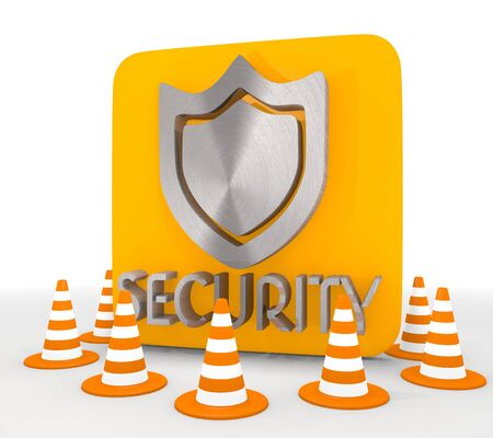 shutoff: Red  metallic blocakde 3d graphic with protecting security icon  Stock Photo