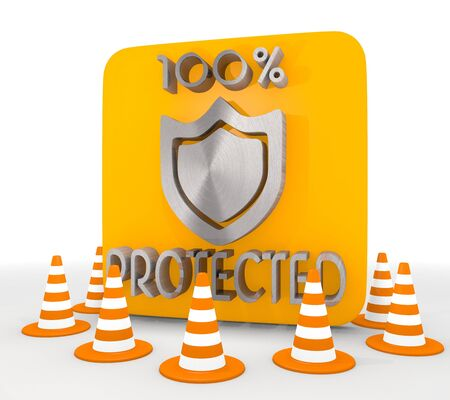 shutoff: Red  secure protect 3d graphic with shielded protected icon