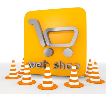 shutoff: Red  shopping design 3d graphic with metallic web shop icon
