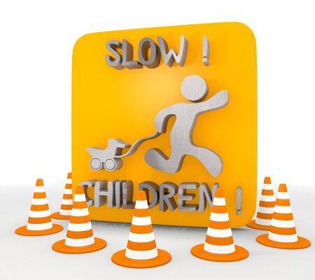 shutoff: Red  metallic children 3d graphic with decorative slow children icon  Stock Photo