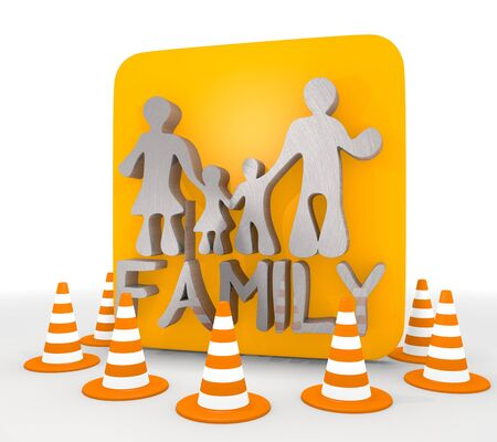 shutoff: Red  metallic work 3d graphic with isolated family icon  Stock Photo