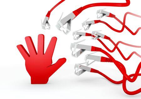 atacaba: Red amenaz� virus 3d gr�fico con el s�mbolo de la mano aislado atacado por una red virtual