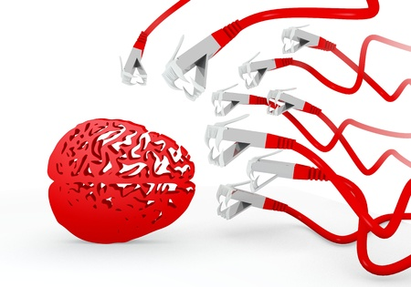 attacked: Red  isolated dangerous 3d graphic with isolated brain symbol attacked by a cyber network