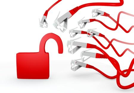 atacaba: Red fugas 3d conexi�n gr�fica con hackeado peligroso s�mbolo atacado por una red virtual