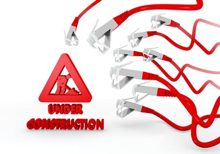 atacaba: Red hackeado 3d pirata inform�tico gr�fico con el sitio de construcci�n bajo icono de la construcci�n atacados por una red virtual