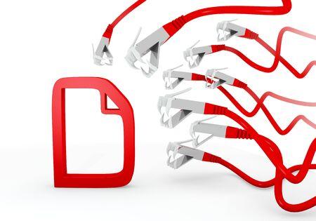 atacaba: Red hackeado archivo gr�fico 3d con el icono de documento amenazado atacado por una red virtual