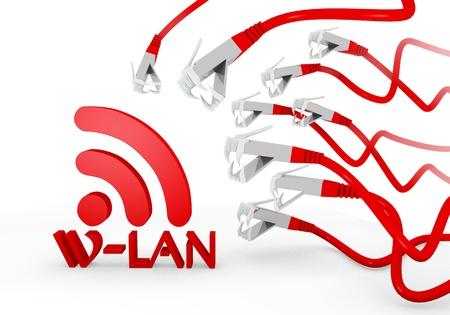 atacaba: Red aislado de la red 3d gr�fica con amenaz� w-lan icono atacado por una red virtual Foto de archivo