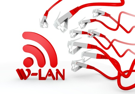 wlan: Red  isolated network 3d graphic with threatened w-lan icon attacked by a cyber network