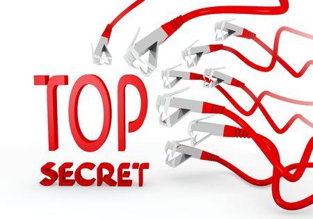 atacaba: Red aislada peligro 3d gr�fica con peligro arriba s�mbolo secreto atacado por una red virtual Foto de archivo